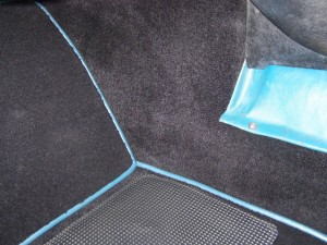 Passenger footwell view of 119/193, with new Wilton carpets installed.