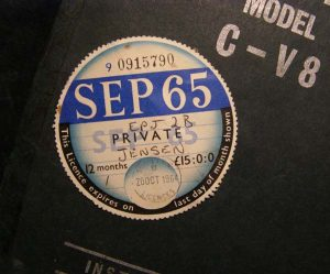The first tax disc for CV8 104/2200.