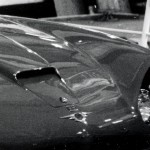 The CV8 FF bonnet, with simple 'FF' chromed badge positioned between the bonnet opening flap, and the winged badge.