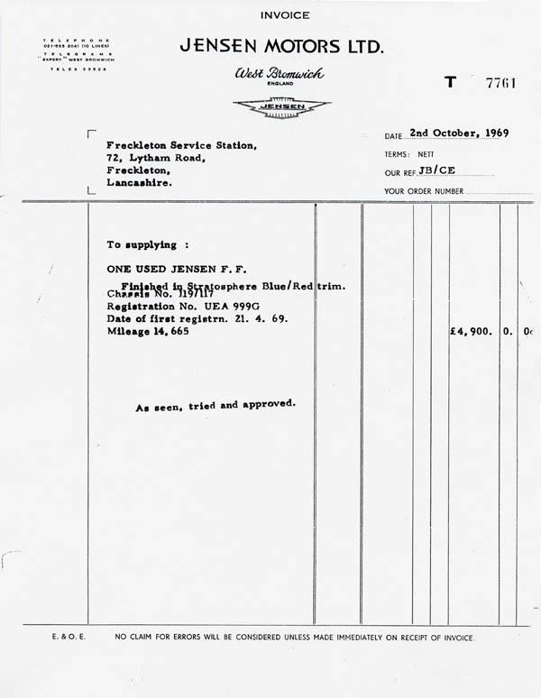 Jensen FF Chassis 119/117 | Press Car